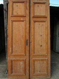 2 Portes Placard Ou Communication Ancienne Moulure Sapin Décoration 230 X  123 Cm
