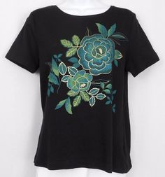 White Stag Top Size S 4 6 Black Cotton Short Sleeve Crew Neck Graphic Tee Women #WhiteStag #KnitTop #Casual