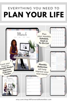 Focus on your monthly goals, scheduling and to do lists as well as all other areas of your life with this digital planner. #digitalplanner Skinny Motivation, Need Motivation, All About Vision, Evening Meditation, Creating A Vision Board, Goal Planning, Goals Planner, Coping Skills, Life Purpose