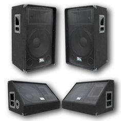 "Pair of 15"" PA Speakers and 15"" Floor Monitors"