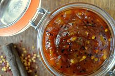Mango chutney with a hint of kick. This is a sweet, fragrant and spicy mango chutney. Pairs well with cheese and all manner of Indian food. Dip Recipes, Indian Food Recipes, Asian Recipes, Cooking Recipes, Ethnic Recipes, Indian Chutney Recipes, Chutneys, Spicy Mango Chutney Recipe, Comida India