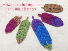 Due to the success of crochet feathers, Ana Celia and Esperanza created a new tutorial for medium and small feathers. You can watch the video here.MaterialsAny yarn recommended to crochet with 3 mm… Crochet Feathers Free Pattern, Crochet Dreamcatcher Pattern Free, Crochet Mandala Pattern, Crochet Flower Patterns, Crochet Designs, Doily Patterns, Dress Patterns, Thread Crochet, Crochet Yarn