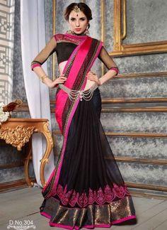 Precious Pink Black Embroidery Work Satin Chiffon Designer  Sarees http://www.angelnx.com/Sarees