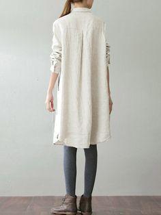 O-NEWE Vintage Lapel Pocket Shirt Dress For Women