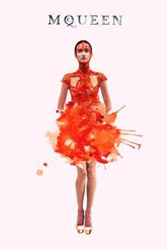 ink fabric editorial 4 #JuliaSlavinska #fashionillustration #Ink #watercolor #McQueen