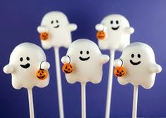 Ghost Cake Pops-so cute but given my history with cake pops I'm sure mine would look nothing like these