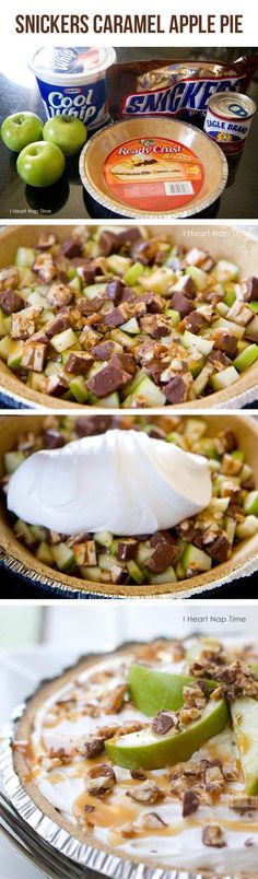 Ingredients: 1 pie crust 3 green apples diced 1/4 cup caramel ice cream topping 15-20 mini snickers chopped 2 1/2 cup COOL WHIP whipped topping softened 1/4 cup sweetened condensed milk 4 oz softened, cream cheese (could also substitute with one small packet of pudding) Directions: 1. Spread snickers on bottom of pie crust. Next layer the apples next. Then drizzle caramel on top. 2. Combine cool whip, cream cheese and sweetened condensed milk together in a small bowl and spread on top. (Side…