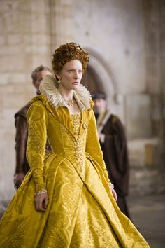 Cate Blanchette, in yellow velvet, as Queen Elizabeth I in the film Elizabeth: The Golden Age.