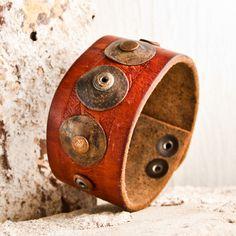 Leather Cuffs Wristbands Vintage Fashion Metal Patina RARE OOAK. $100.00, via Etsy.