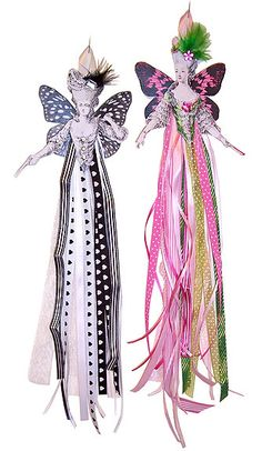A great use for ribbons with paper art dolls