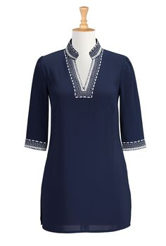 Tunic Style Embellished Tops, Navy Stretch Crepe Tunics Shop women's fashion clothing - Long Tunic Tops, Women's Tops, Fashion Tops, Plus Size Tops | | eShakti.com
