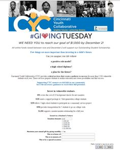 Cincinnati Youth Collaborative's #GivingTuesday Donation Page submission @CYCYouth