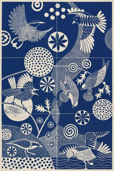 CHITTERING AND CHATTERING linoleum print by Lisa Houck