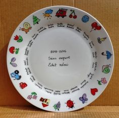 tányér_ballagás Pottery Painting, Painted Pottery, Teacher Gifts, Decorative Plates, Dishes, Tableware, Diy, Home Decor, Auction Ideas