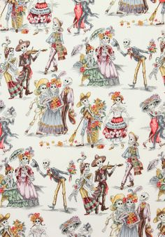 Alexander Henry Folklorico Paseo de los Muertos Day of the Dead Natural, Wide Cotton Fabric Yardage Halloween Quilts, Halloween Stuff, Cotton Quilts, Cotton Fabric, Scrap Fabric, Fabric Art, Rockabilly Home Decor, Couture Pour Halloween, Mexican Skeleton