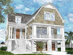 Plan NC  Beach Cottage   Elevator   Beach House Plans    Plan NC  Gambrel Roofed Shingle Style House Plan