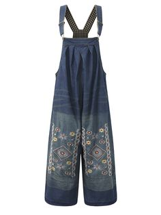 Amazing Loose Women Embroidery Strap Pockets Denim Jumpsuits on Newchic, there is always a plus size jumpsuits and rompers that suits you! Plus Size White Jumpsuit, Plus Size Romper, Plus Size Vintage, Jeans Overall, Denim Jumpsuit, Moda Online, Jumpsuits For Women, Playsuit, Fashion Clothes