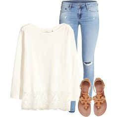 A fashion look from August 2015 featuring H&M tops, H&M jeans and Tory Burch sandals. Browse and shop related looks.