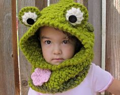 CROCHET PATTERN - Frog Fun a hoppy hoodie - frog hood w/ cowl and flower in 3 sizes (Toddler, Child, Adult) - Instant PDF Download