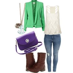 Outfit with cream tank, light jeans, combat boots and a green blazer