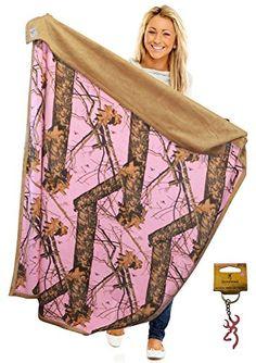 Mossy Oak Pink Camo Throw Blanket 56x70 Faux Suede