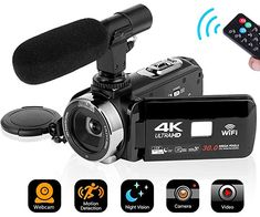 Video Camera Camcorder Digital Camera WiFi Video Camcorder inch Touch Screen Night Vision Vlogging Camera Camcorder with Microphone Camcorder, Camera With Flip Screen, Distance Focale, Carte Sd, Usb, Wide Angle Lens, Video Camera, Night Vision, Hd Video