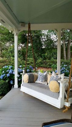 front porch decor ideas - Porches have their background in very early America and are frequently related to a simpler time and lifestyle, Best Rustic Farmhouse Front And Back Porch Designs Ideas Bed Swing, Porch Swing Bed, Summer Porch Decor, House With Porch, Modern Farmhouse Porch, House Exterior, Porch Design, Home Decor, Porch Swing
