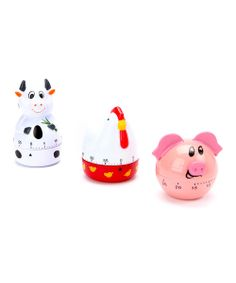 There's no need to worry over burning the brisket with the help of this farm animal kitchen timer trio. Simply twist, set and bask in fret-free cooking relief. Cheers to the chef!Includes chicken, pig and cow timersPlasticImported