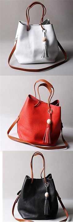 2db2920f3cb5 Women Cowhide Casual Outdoor Shoulder Bag White Black Red. Hand Bags ...