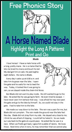 Free Phonics Story--Students highlight the long A patterns in the story.  The story is bundled in the free file and comes with two PowerPoints