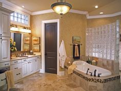 Glass Block Window.  Like the wallpaper.  Floor to ceiling cabinet.  Glass block above sink.    Master Bathroom Ideas for the New Creation of Bathroom: master bathroom ideas small
