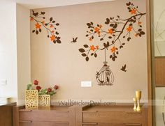 home decorating branches cherry blossom birdcage birds wall decal cherry tree branch birds vinyl wall art tree wall decals