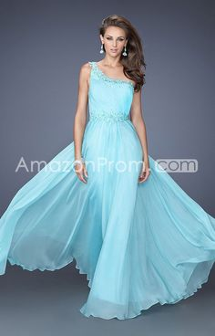 2014 Floor-length One Shoulder Sheath/Column Chiffon Prom Dresses
