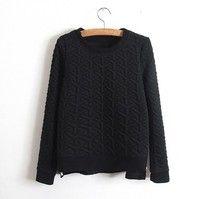 Wish   Korean version the hem both sides of the zipper split ends long-sleeved hedging Sweatshirts