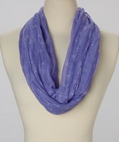 Periwinkle & Ivory Anchor Infinity Scarf