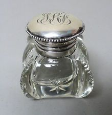 WONDERFUL 19th C. VICTORIAN PERIOD CUT GLASS INKWELL with STERLING SILVER TOP