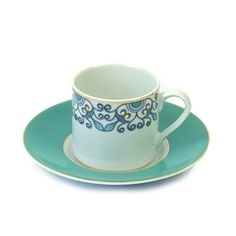 Turkish Coffee Cup & Saucer - Modern (Turquoise)