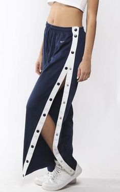 Online destination for vintage and re-worked clothing specializing in sportswear ,recycled clothing and streetwear for women. Tear Away Pants, Snap Pants, Vintage Sportswear, Girl Fashion, Fashion Outfits, Type Of Pants, Pants Outfit, Shorts, Jacket Style
