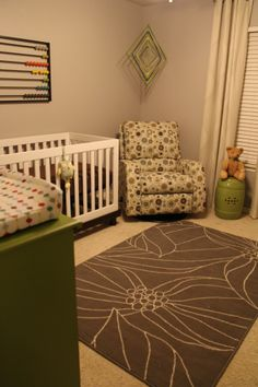 Love the abacus and the use of the vintage style dresser dual purpose changing table!