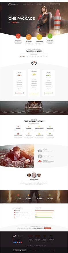 RocketHost is clean and modern design #PSD template for web #hosting company website with 20 layered PSD pages download now #webdesign