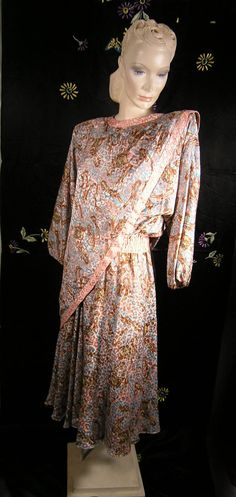 5bd7efe87bf7 Items similar to Beautiful Diane Freis Draped Silky Flowing 1980s Georgette  dress on Etsy