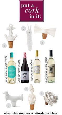 Witty Wine Stoppers & Affordable Wines