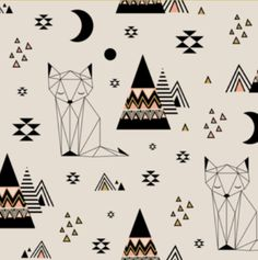 Geometric Southwest Tribal Fox Fabric - Distant Planet Mint By Kimsa - Fox Cotton Fabric By The Yard With Spoonflower Textures Patterns, Fabric Patterns, Print Patterns, Textile Design, Fabric Design, Tribal Fox, Fox Fabric, Aqua Fabric, Fabric Shop