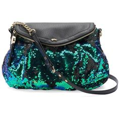 Juicy Couture Sequined Crossbody Bag ($47) ❤ liked on Polyvore featuring bags, handbags, shoulder bags, brt blue, blue shoulder bag, hand bags, shoulder strap bags, handbags purses and juicy couture crossbody