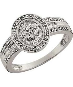 9ct White Gold Diamond 1 Carat Look Baguette and Round Ring.