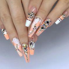 Ballerina nails on Acrylic Nails Natural, Summer Acrylic Nails, Best Acrylic Nails, Glam Nails, Bling Nails, Cute Nails, My Nails, Pretty Nails, Beautiful Nail Designs