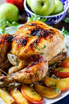 """Apple Cider Basted Roasted Chicken - This chicken was excellent! I served it with """"Roasted Brussels Sprouts, Cinnamon Butternut Squash, Pecans, and Cranberries"""" which is another pin you can find on my """"Culinary Reruns"""" board."""