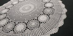 "32"" Vintage Handmade Crochet Large Doily Circular Pattern, Christmas Table Decorations, Cotton Thread, Light Beige, Doilies, Delicate, Velvet, Tablecloths, Crochet"