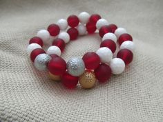 White faceted shell garnet red sea glass and by littlecrowshop, $17.00