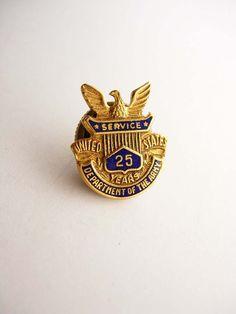 Vintage US Army Lapel Hat Pin Enamel 25 Year by NeatstuffAntiques, $15.00